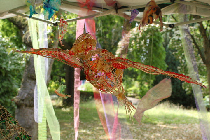 Visitors made bird shapes to add to the flock from bio-plastic; a bio-degradable polymer that can be made from edible materials, Didsbury Parsonage :: July 2013