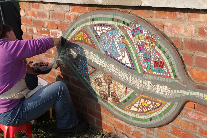 The mosaic was then installed at the country park