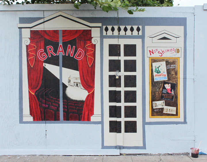 Some of my own work! - Grand Cinema shop hoarding design as part of Levenshulme Art Action Group's funded project, Manchester