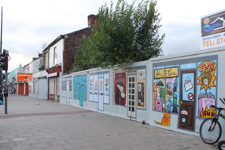 The project involved 10 local artists temporarily 'beautifying' the A6 in Levenshulme. Funded by Manchester City Council :: July - August 2013